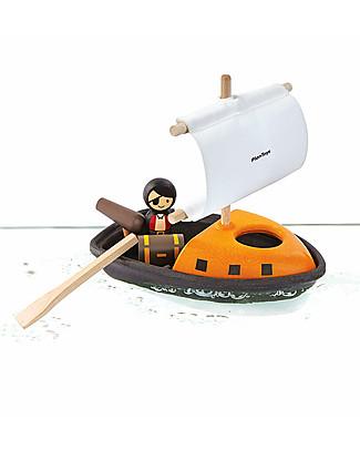 PlanToys Nave dei Pirati in Legno 21 x 22 x 12 cm, Galleggiante - Ecologica e divertente! Giochi Da Spiaggia