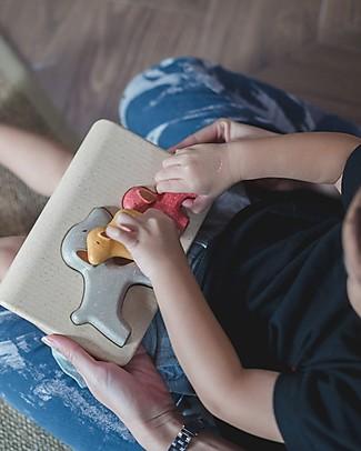 PlanToys Puzzle Baby Cagnolino in Legno, 3 pezzi - Eco-friendly e divertente! Puzzle
