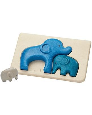 PlanToys Puzzle Baby Elefanti in Legno, 3 pezzi - Eco-friendly e divertente! Puzzle