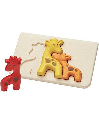 PlanToys Puzzle Baby Giraffe in Legno, 3 pezzi - Eco-friendly e divertente! Puzzle