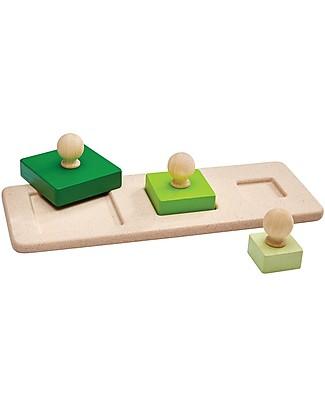 PlanToys Puzzle Baby Quadrati in Legno, 3 pezzi - Insegna le Forme! Puzzle