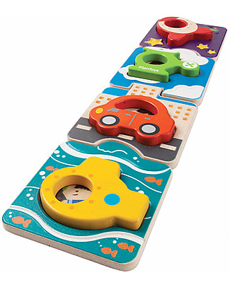 PlanToys Puzzle Baby Veicoli in Legno, 4 pezzi – Eco-friendly e divertente! Puzzle