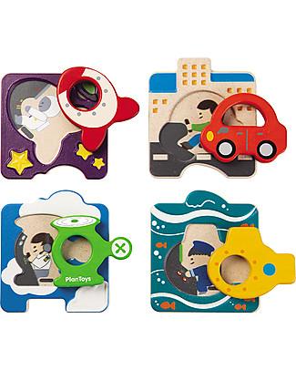 PlanToys Puzzle Baby Veicoli in Legno, 4 pezzi - Eco-friendly e divertente! Puzzle