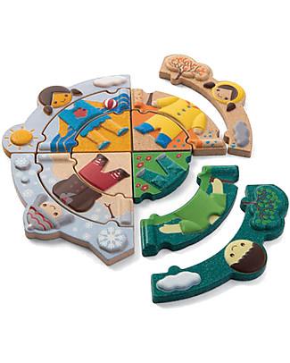PlanToys Puzzle Delle Stagioni in Legno con Figure da Vestire e Stampi da Ricalcare Incastri In Legno