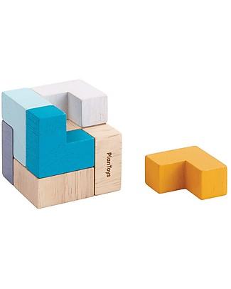 PlanToys Puzzle in Legno 3D - Risolvi il Cubo! Mattoncini da costruzione