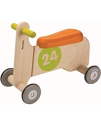 PlanToys Quadriciclo in legno Bike Ride On I, Arancione e Giallo- Migliora l'equilibrio Biciclette Senza Pedali