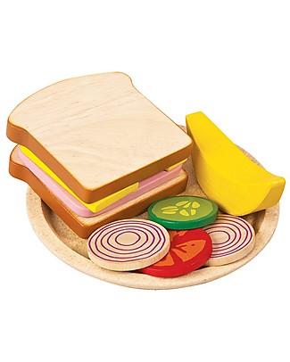 PlanToys Sandwich in Legno - Educa a Mangiare Diversi Tipi di Alimenti Giochi Per Inventare Storie