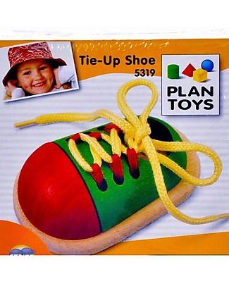 PlanToys Scarpa Giocattolo in Legno - Insegna ad Allacciare le Scarpe Far finta di
