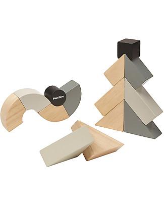 PlanToys Set di Blocchi in Legno - 14 Pezzi di Forme Inusuali Mattoncini da costruzione