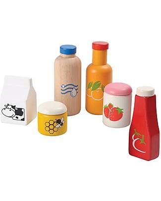 PlanToys Set di Bottiglie in Legno per Cibo e Bibite - Ecologico e Divertente! Cucine Giocattolo e Cibo Finto