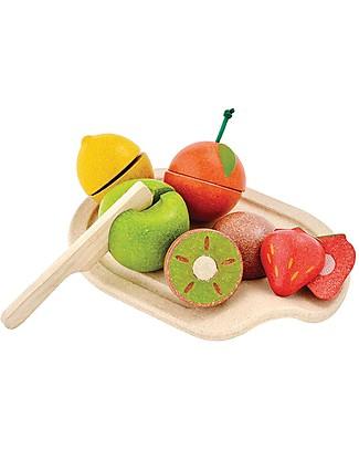 PlanToys Set di Frutta Assortita in Legno - Ecologico e Divertente! Giochi Per Inventare Storie
