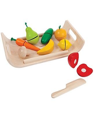 PlanToys Set di Frutta e Verdura Assortita in Legno - Ecologico e Divertente! Cucine Giocattolo e Cibo Finto