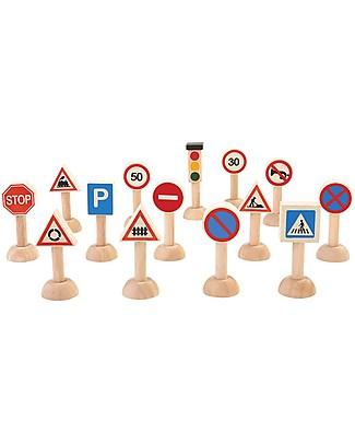 PlanToys Set di Segnali Stradali e Semaforo in Legno, 14 pezzi - Educa e Diverte! Macchine e Trenini  in Legno