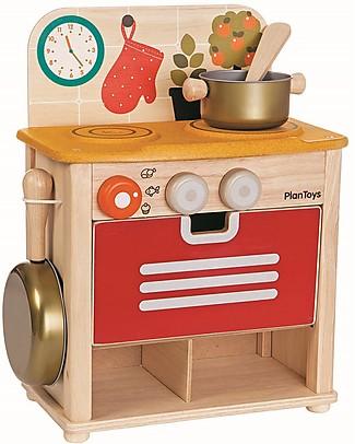 PlanToys Set Gioco in Legno Cucina - Bellissima e divertente! Cucine Giocattolo e Cibo Finto