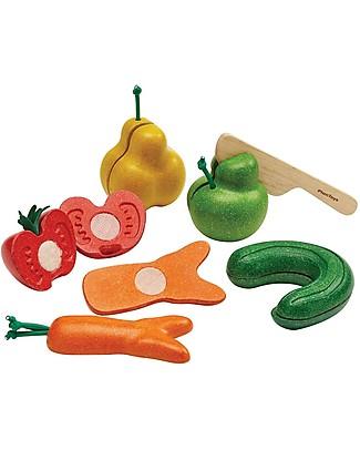 PlanToys Set Imperfetto di Frutta & Verdure in Legno - Insegna a Ridurre lo Spreco del Cibo Cucine Giocattolo e Cibo Finto