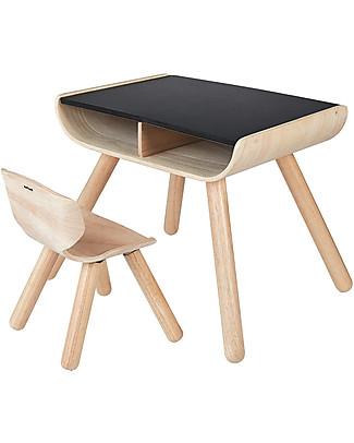 PlanToys Set Scrivania + Sedia Bimbi in Legno, Nero, 3-6 anni - Design ed ecologia! Tavoli