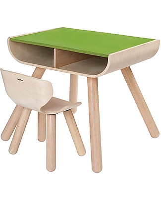PlanToys Set Scrivania + Sedia Bimbi in Legno, Verde, 3-6 anni - Design ed ecologia! Sedie