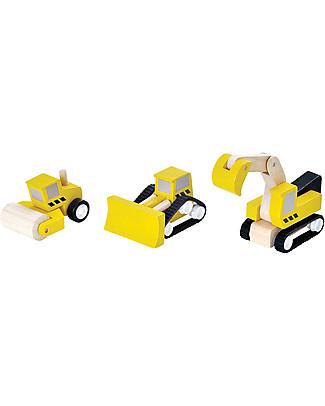 PlanToys Set Veicoli da Costruzione in Legno: Escavatore, Rullo Compressore e Ruspa Macchine e Trenini  in Legno