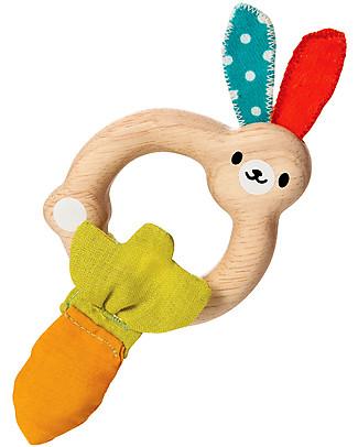PlanToys Sonaglio Coniglietto in Legno, da 4 mesi in su - Eco-friendly e divertente! Sonagli
