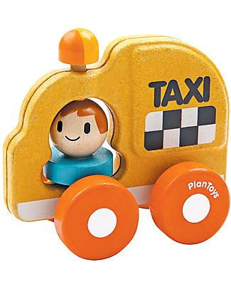 PlanToys Taxi in Legno, 16 cm – Eco-friendly e divertente! Macchine e Trenini  in Legno