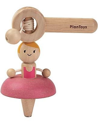 PlanToys Trottola in Legno Ballet Top - Fai danzare la ballerina! Giochi da Tirare e Spingere