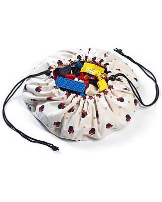 Play&Go Mini Sacco Portagiochi e Tappeto 2 in 1 Collezione Disney, Minnie - 100% cotone premium Contenitori Porta Giochi