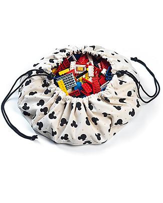Play&Go Mini Sacco Portagiochi e Tappeto 2 in 1 Collezione Disney, Topolino - 100% cotone Tappeti Gioco