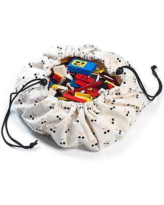Play&Go Mini Sacco Portagiochi e Tappeto 2 in 1 in cotone - Ciliegie Tappeti Gioco