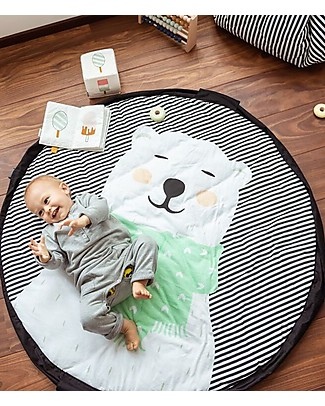 Play&Go Portable 3 in 1 Storage Bag, Diaper Bag & Playmat in Soft Cotton – Polar Bear Playmats