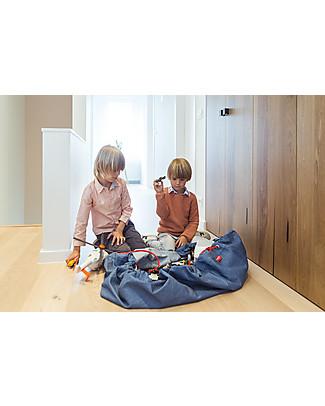 Play&Go Sacco Portagiochi e Tappeto 2 in 1 – Jeans – 100% Cotone Premium Contenitori Porta Giochi