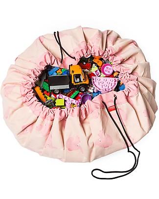 Play&Go Sacco Portagiochi e Tappeto 2 in 1 – Pink Elephant by A Little Lovely Company – 100% Cotone Premium Contenitori Porta Giochi