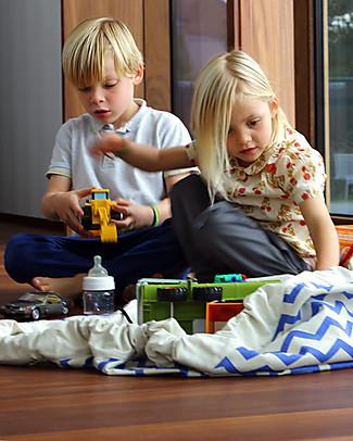 Play&Go Sacco Portagiochi e Tappeto 2 in 1 – Zigzag Blu – 100% Cotone Premium Contenitori Porta Giochi