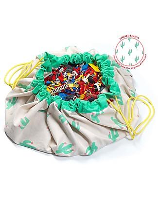 Play&Go Sacco Portagiochi e Tappeto 2 in 1 - Edizione Limitata Cactus - 100% Cotone Premium Tappeti Gioco