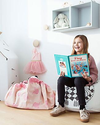 Play&Go Sacco Portagiochi e Tappeto 2 in 1 - Pink Elephant by A Little Lovely Company - 100% Cotone Premium Contenitori Porta Giochi