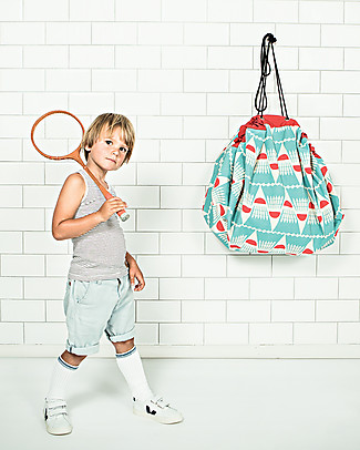 Play&Go Sacco Portagiochi e Tappeto 2 in 1 in cotone - Badminton by Bakker Made With Love Contenitori Porta Giochi