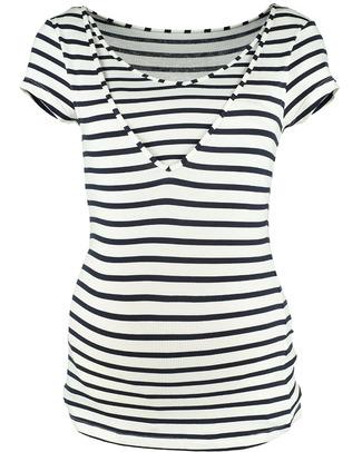 Pomkin Lise - Maglia Premaman e Allattamento - Bianca con Righe Blu T-Shirt e Canotte