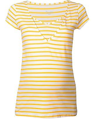 Pomkin Lise - Maglia Premaman e Allattamento - Righe Gialle T-Shirt e Canotte