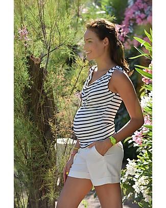 Pomkin Marie - Maglia Premaman e Allattamento - Righe Blu T-Shirt e Canotte