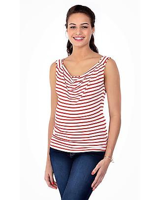 Pomkin Marie - Maglia Premaman e Allattamento - Righe Rosse T-Shirt e Canotte