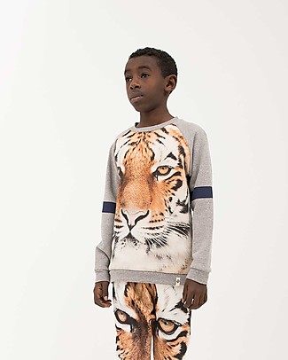 Popupshop Felpa Maniche Raglan Tigre - 100% cotone bio Felpe