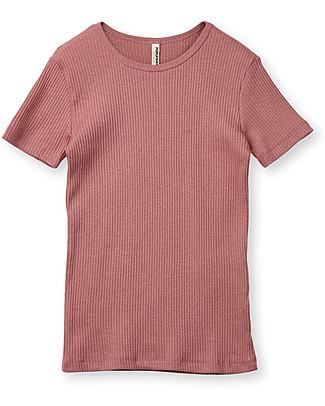 Popupshop Maglia Maniche Corte a Costine, Rosa - 100% Cotone bio T-Shirt e Canotte