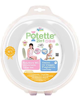 Potette 2in1 Potette 2in1, Vasino da Viaggio e Riduttore WC - include 3 ricambi - Bianco Vasini