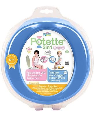 Potette 2in1 Potette 2in1, Vasino da Viaggio e Riduttore WC - include 3 ricambi - Blu Vasini