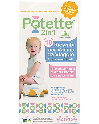 Potette 2in1 Ricambi per Vasino Potette 2in1, Superassorbenti e Antiodore - 10 Pezzi Vasini