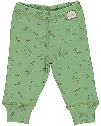 Poudre Organic Baby Leggings, Green Jade with Bunnies Print - 100% organic cotton Leggings