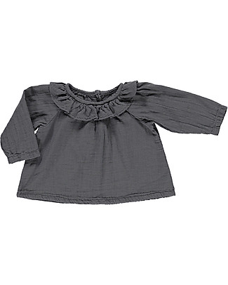 Poudre Organic Blusa con Collo Volant, Antracite – 100% cotone bio Camicie