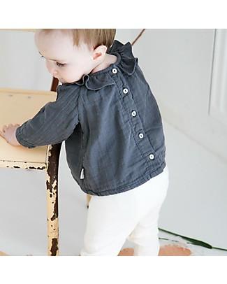Poudre Organic Blusa con Collo Volant, Antracite - 100% cotone bio Camicie