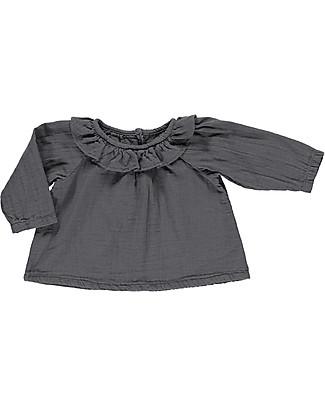 Poudre Organic Blusa con Collo Volant, Antracite - 100% cotone bio null