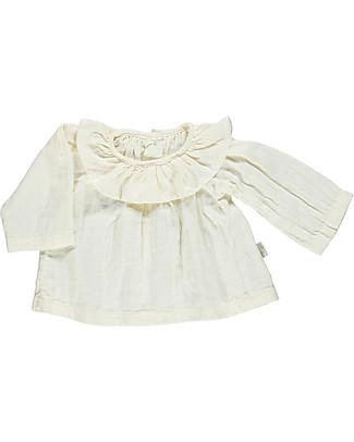 Poudre Organic Blusa con Collo Volant, Bianco Latte – 100% cotone bio Camicie