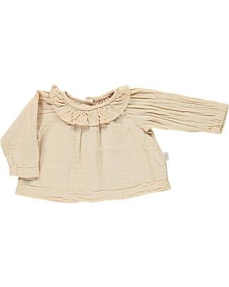 Poudre Organic Blusa con Collo Volant, Luce Ambrata - 100% cotone bio Camicie
